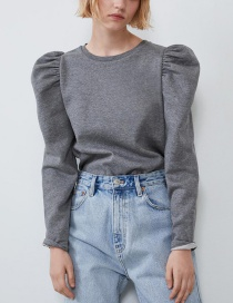 Fashion Gray Fluffy Sleeve Sweater