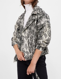 Fashion Snake Serpentine Jacquard Motorcycle Jacket