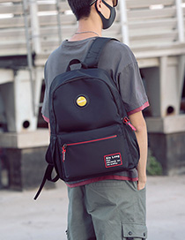 Fashion Black Red Labeled Backpack