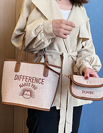Brown Cartoon Embroidered Letter Hand Bag Shoulder Bag
