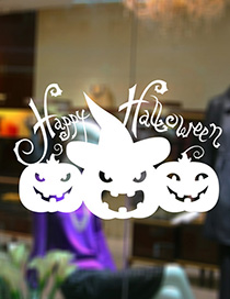 Fashion White Kst-13 Halloween Pumpkin Head Wall Sticker
