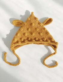 Fashion Sharp Corner Ball Turmeric Woven Wool Children's Hat