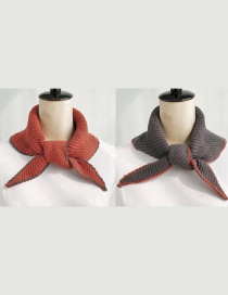 Fashion Double-sided Triangle Brick Red + Dark Gray Double-knit Wool Scarf