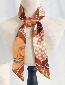 Fashion Nautical Map Orange Dots Long Narrow Scarf