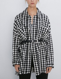 Fashion Lattice Plaid Tweed Jacket