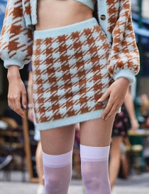 Fashion Color Houndstooth Knit Skirt