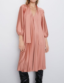 Fashion Orange Pink Small Pleated Dress