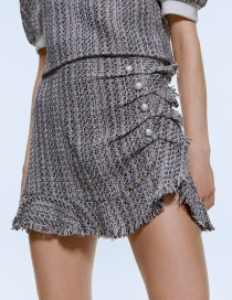 Fashion Gray Pearl Button Tweed Skirt