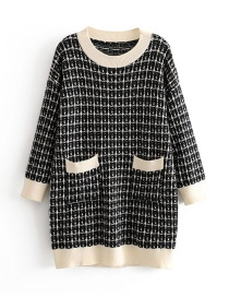 Fashion Black Plaid Pullover Sweater