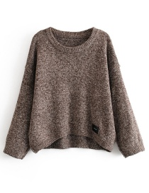 Fashion Brown Labeled Round Neck Pullover