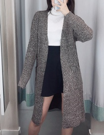 Fashion Gray Middle Pocket Knit Cardigan