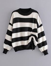 Fashion Black Striped Drawstring Pullover