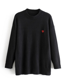 Fashion Black Love Embroidered Pullover