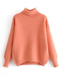 Fashion Orange Mohair Turtleneck Pullover