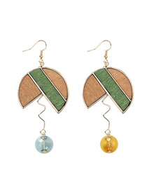 Fashion Gold Geometric Wooden Color Matching Lines Wavy Glass Ball Earrings