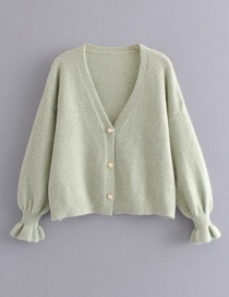 Fashion Green Mohair Button Sweater