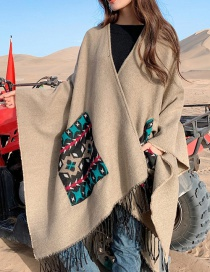 Khaki Pocket Solid Color Imitation Cashmere Tassel Cloak