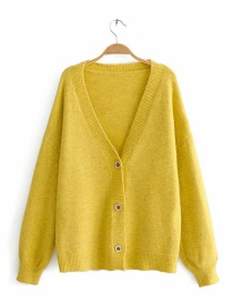 Yellow V-neck Knit Cardigan