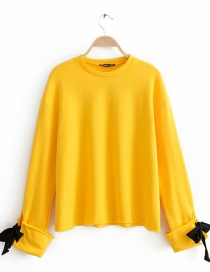 Yellow Sleeve Lace Long Sleeve Sweater