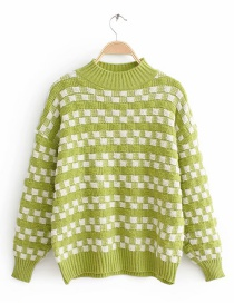 Green Diamond Color Matching Sweater