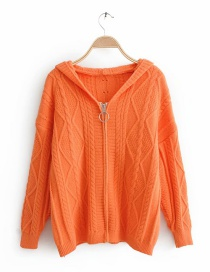 Orange Zip Hooded Twist Sweater