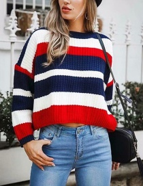 Red Rainbow Stripe Contrast Sweater