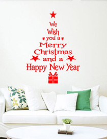 Fashion Red Ss-5 Christmas Tree Greeting Wall Sticker Can Be Removed