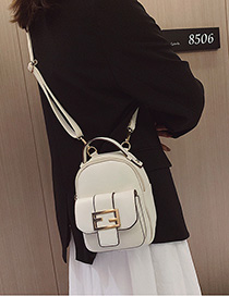 Fashion Creamy-white Belt Buckle Backpack