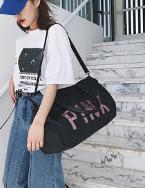 Black Letter Pink Portable Bag