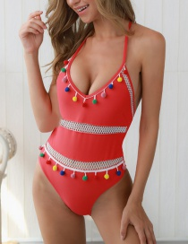 Red Halter Strap Backless One-piece Swimsuit