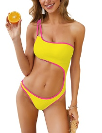 Yellow Covered Colorblocked Waist One-piece Swimsuit