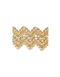 Fashion Wave Type (bright Gold) Geometric Lock Key Pin Chain Brooch