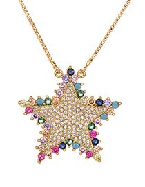 Fashion Gold Copper Inlaid Zircon Pentagram Necklace