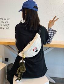 Fashion White Cartoon Contrast Color Canvas Chest Bag
