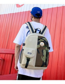 Fashion Camouflage Stitching Contrast Stitching Backpack