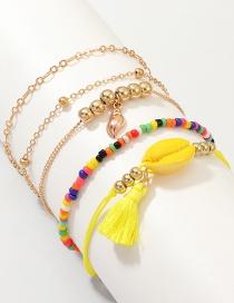 Fashion Yellow Rice Beads Shell Tassel Alloy Bracelet