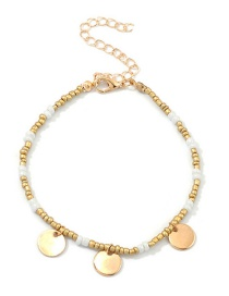 Fashion Gold Disc Alloy Small Round Leaf Rice Beads Bracelet