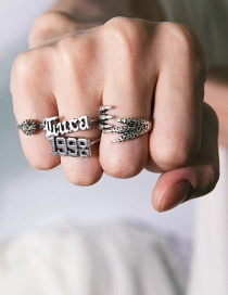 Fashion Silver Embossed Geometric Eagle Claw Letter Ring Set