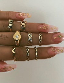 Fashion Gold Love Letter Baby Ring Set Of 8