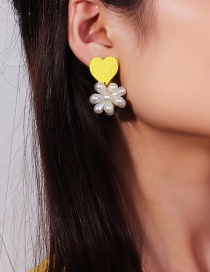 Fashion Yellow Love Pearl Earrings