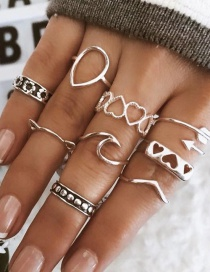 Fashion Silver Love Cat Ring Set Of 9