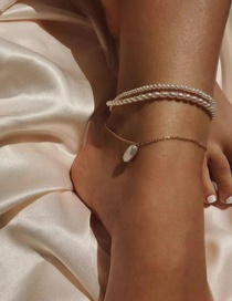 Fashion Gold Alloy Beaded Pearl Multi-layered Anklet