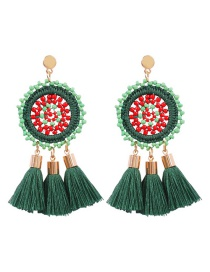 Fashion Green Hollow Woven Rice Beads Tassel Earrings