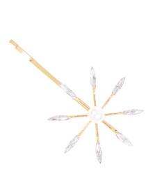 Fashion Gold Alloy Diamond Pearl Hairpin