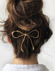Fashion Gold Alloy Bow Hair Clip