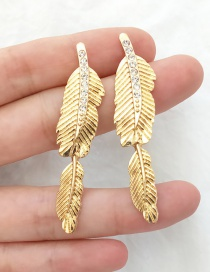 Fashion Gold Alloy Studded Leaf Stud Earrings