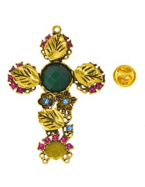 Fashion Gold Cross-studded Emerald Brooch