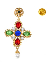 Fashion Color Diamond Jewel Cross Brooch