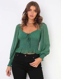 Fashion Green Lace-up Floral Print Shirt