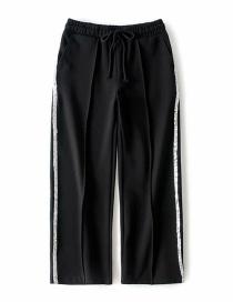 Fashion Black Sequined Stitching Wide-leg Pants
